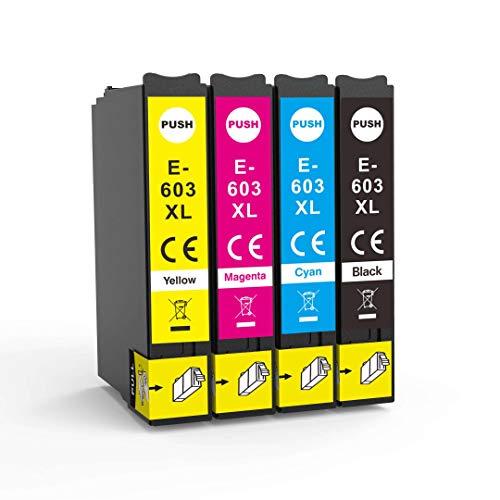 Lessint INK-TANK 603XL Cartuchos de tinta reemplazables para Epson XP-2100 XP-2105/ XP-3100/ XP-3105/ XP-4100/ XP-4105/ WF-2810/ WF-2830/ WF-2835/ WF-2850 - Juego completo