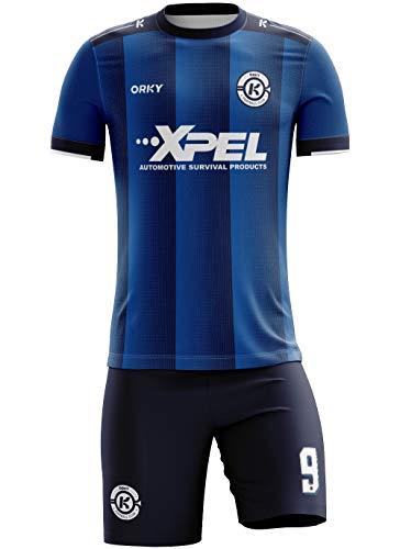 ORKY Boy Soccer Jersey Men Team Uniform Kids Customize Name Number Logo Football Short Long Sleeve Girl Soccer Shirt (Dark Blue 4XL)