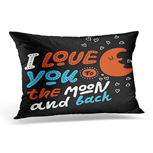 Awowee Funda de cojín de 30 x 50 cm, con texto en inglés 'Love You Moon and Back' y texto en inglés 'Awowee', 30 cm x 50 cm, con texto en inglés 'Love You Moon and Back', para decoración del hogar, sofá o silla