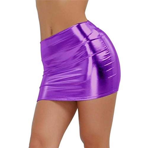Rock Ladies Summer Lhwy Women Classiche Nightclub Lingerie Stretto Gonne Slim Mini Ragazzi Gonna Dritta Lunga Vita Alta Gonna Elegante Abiti Eleganti (Color : Purple, Taglia Unica : One Size)