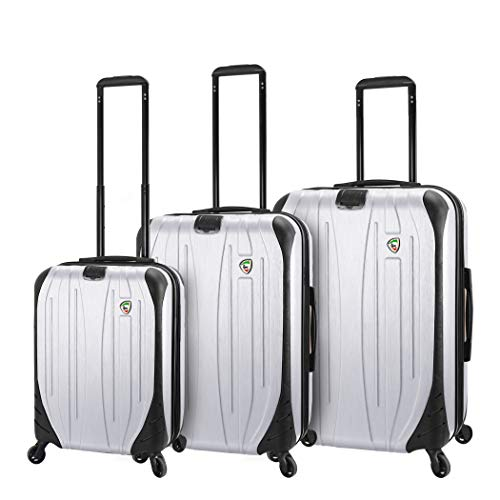 Mia Toro Italy Compaz Hard Side 20' Spinner Luggage, White, One Size
