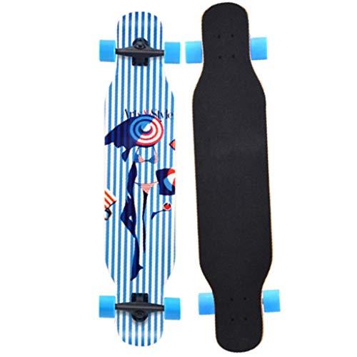 ZAIHW Deluxe Longboard Bambus Skateboard Race 42 Zoll Professionelles Tanzen Longboard Cruise Lasting (Farbe : A)