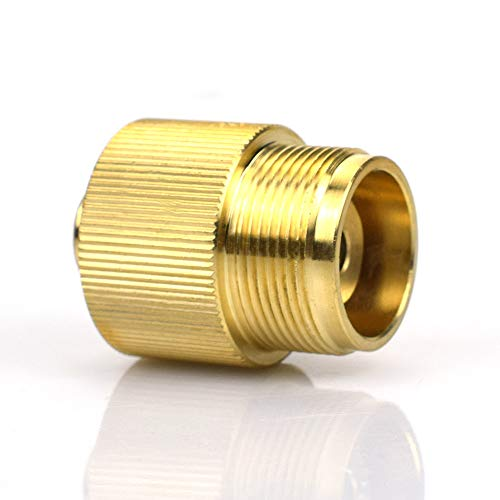 RANDDER Camping Stove Adapter 100% Copper, 1Lb Propane Small Tank Input EN417 Lindal Valve Output - Propane to Butane Adapter - Backpacking Stove Outdoor Fuel Canister LPG Adapter, Gold