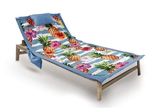 BIANCHERIAWEB Telo Mare da Lettino con Cuscino Modello Comodo Summer Disegno Ananas