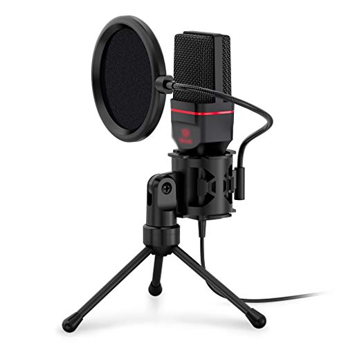 TJLSS Omni Condenser Microphone with Tripod Audio 3.5mm Computer Studio Microphone for PC Phone Karaoke Recording Phone