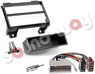 Sound-way Kit Montaggio Autoradio, Mascherina 1 DIN, Cavo Adattatore Connettore ISO, Adattatore Antenna compatibile con FO...