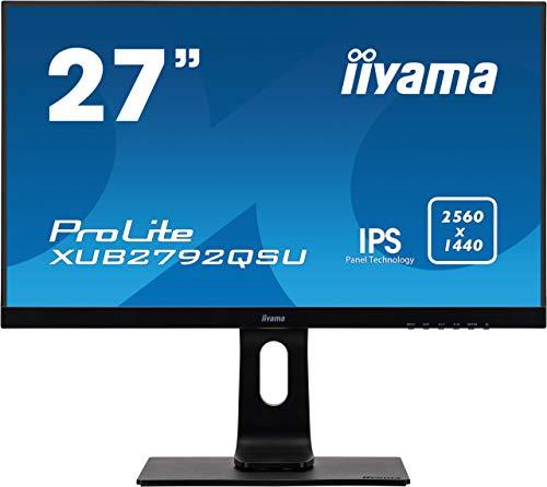 iiyama Prolite XUB2792QSU-B1 A 68,5cm (27 Zoll) IPS LED-Monitor QHD (DVI, HDMI, DisplayPort, USB3.0, Ultra-Slim-Line, FreeSync, Höhenverstellung, Pivot) schwarz