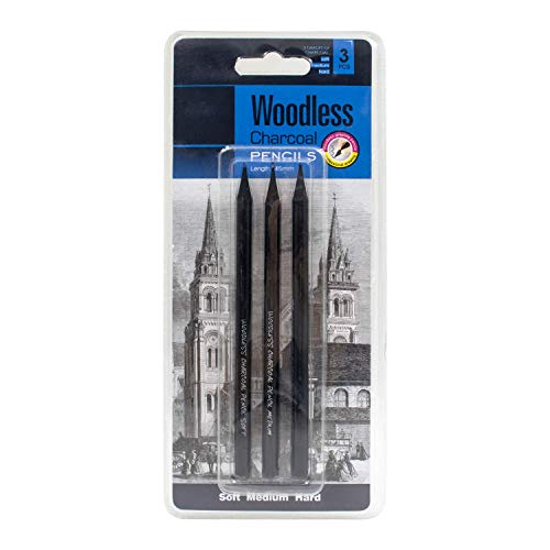 Riyanonウッドレススティックを描画するための木炭鉛筆非木セット、黒鉛、木炭スケッチライティングシェーディング、プロフェッショナル機能木炭の3グレード(ソフト、ミディアム、ハードを含む) (3個)