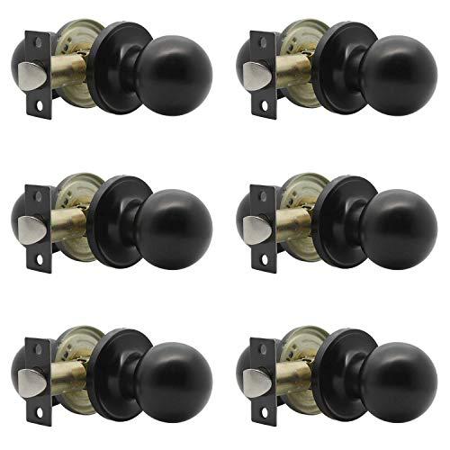 Paquete de 6 pomos redondos para puerta de pasillo, armario, función de paso para pasillo, armario, puerta interior, acabado negro, sin llave (sin bloqueo)