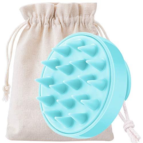 MELLIEX Kopfhaut Massagebürste, Silikon Shampoo Bürste [Nass & Trocken] Haarbürste für Kopfmassage und Peeling Verbessert die Durchblutung(Blau)