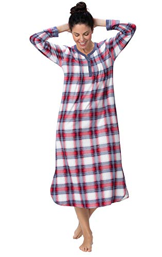 Addison Meadow Womens Nightgown - Long Sleeve Nightgown Women, Plaid, M / 8-10