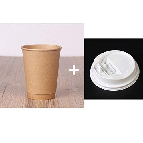 NIUPAN 50 stks dikke kraftpapier wegwerp koffiekopje papieren beker dubbele holle melk thee warme drank verpakking beker met deksel huishoudelijke tas |wegwerp beker