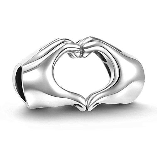 Lovans Argento 925 Cuore Charm Bead per bracciali Pandora Regalo Festa della Mamma (Heart...
