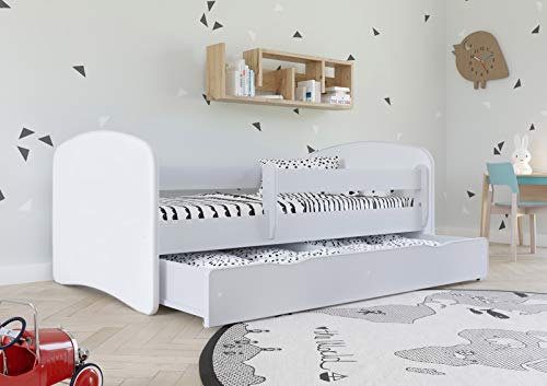 White Toddler Bed with Safety Rail Included 70x140 80x160 80x180 cm Kids Bed with Fall Protection, Removable Drawer and Slatted Base - For Boys and Girls - 140x70 - without Mattress