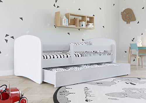 Wonderhome Kids Letto Bianco per Bambini con Materasso Incluso 70x140 80x160 80x180 cm Letto Bambini con Barriera di Protezione, Doghe e Cassetto Removibile - per Bambino e Bambina - 160x80