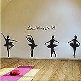 Wandaufkleber Charmante Ballett Tanz Ballerinas Sterne Vinyl Wandtattoos Sprichwort Zitat Kunst Aufkleber Kinderzimmer Kinder Mädchen 42 * 120Cm