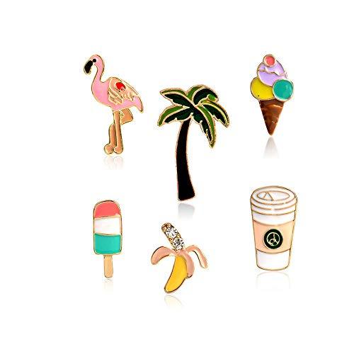 ICYANG 6 Stück Palme Lolly Flamingo Banana Kaffeetassen Eiscreme Broschen Emaille Anstecknadel Jeans Jacke Kragen Anstecker Pin