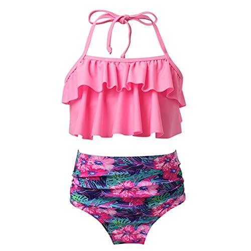 iEFiEL Mädchen Bikini Badebekleidungsset Neckholder Bustier mit Brief Blumen gedruckt Badeanzug Badekleid für Kinder gr. 110 116 122 128 134 140 152 Rosa 134-140