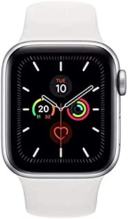 Apple Watch Series 5-44mm Silver Aluminium Case with White Sport Band - S/M & M/L, GPS, watchOS 6