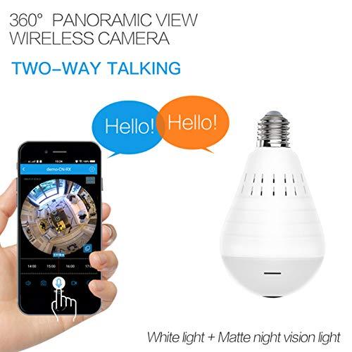bqlove Telecamera A Lampadina, Lampadina Panoramica 960p Wifi, Telecamera Ip Di Sicurezza Per Visione Notturna Fisheye Wireless A 360 Gradi Per Casa, Ufficio (1PC)