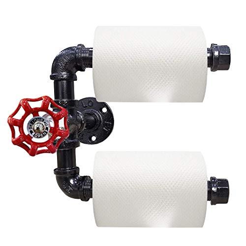 Rustic State Industrial - Soporte de Pared para Tubos de Ropa, Barra y toallero, Color Negro