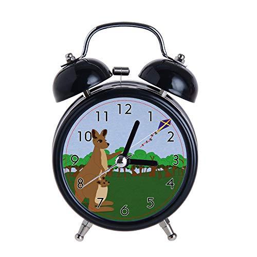 PAEEG Kinder Wecker Vintage Retro Silent Pointer Uhren Runde Nummer Dual Bell Loud Black Wecker Nachtlicht Home Dekore Cartoon Kängurus Flying a Kite Uhren