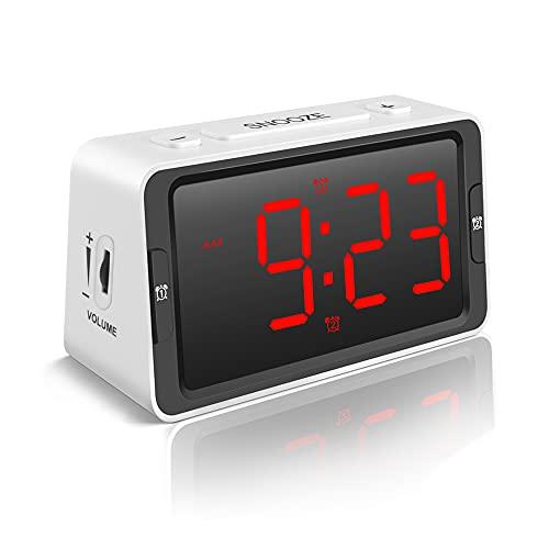 Digital Alarm Clock with USB Charging Port, Alarm Clock for Heavy Sleepers, Dual Alarm Clock with Large Number, Snooze, Dimmer, Volume, Battery Backup, Desk Bedside Alarm Clock for Bedroom
