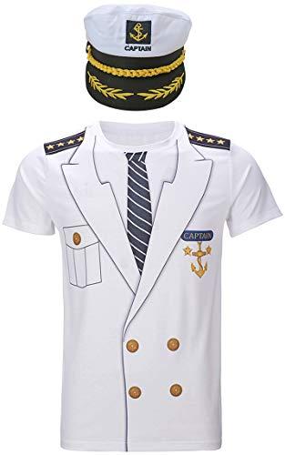 COSAVOROCK Hombre Camisetas de Capitán con Gorra (M, Captain)