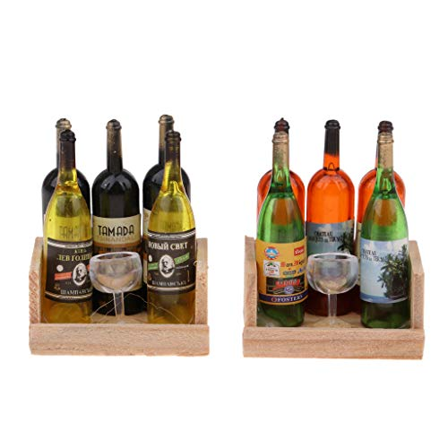 Hellery 2 Juegos Bar Pub Decoración Vino Champagne Botellas de Cerveza Kits de Cubilete Juguete Escala 1:12