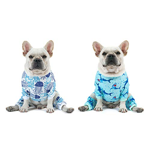 CuteBone Stretchy Dog Pajamas Cat Clothes for Small Sized Boys, Sharks&Jellyfish, 2 Pack, 2DA02XL