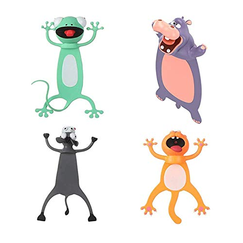 Kids Student Cartoon Ouch Bookmarks Animal Bookmarks 3D Bookmark Birthday Party Favors (4PCS-2)