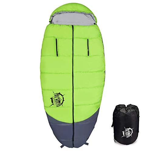 Tru North Trails Spacious Sleeping Bag Innovative Wearable, Water-Resistant, Washable, Comfortable, Camping Sleeping Bag for Adults with Zippered Arms and Feet