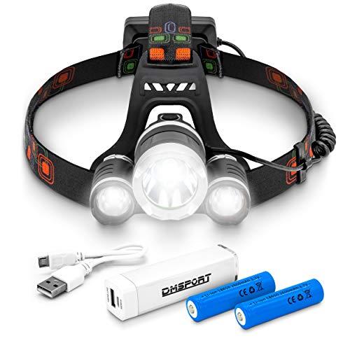 DMSPORT Stirnlampe LED wiederaufladbar mit Rücklicht inklusive Powerbank | LED Kopflampe extrem hell 5000 Lumen | Head Light Rechargeable | Kopflampe LED Akku USB aufladbar | Stirnlampe Joggen Laufen
