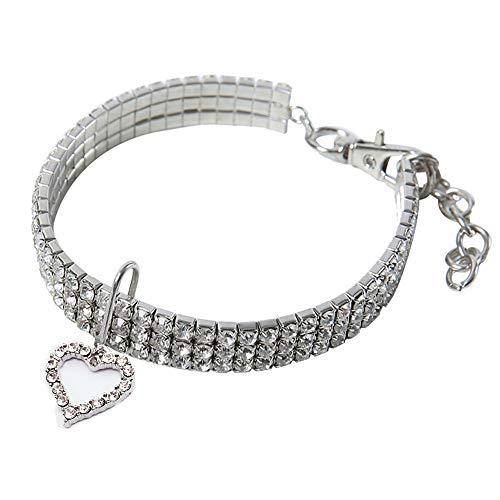 BT Bear Haustier-Halsband, glitzernd, elastisch, mit Strasssteinen, für Katzen und kleine Hunde, Größe S: 20 cm, Weiß