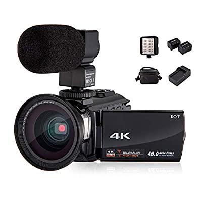 4K Camcorder Video Camera KOT HD WiFi 3.0 Inch IPS Touch Screen 48MP 16X Powerful Digital Zoom Camera with Microphone and Wide Angle Lens IR Night Vision Vlogging Video Camera Recorder Handy cam from KOT