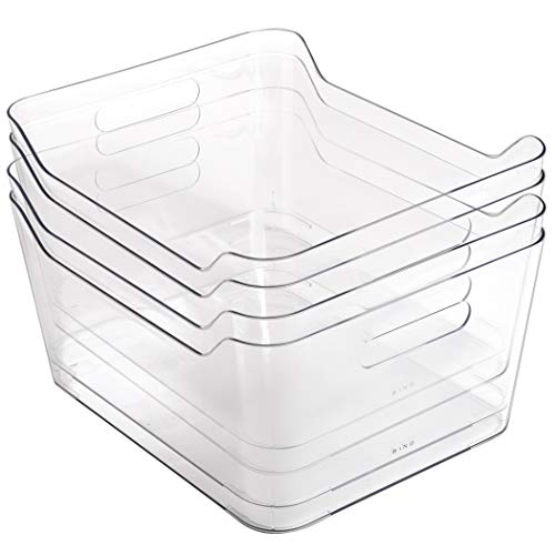 BINO Clear Plastic Storage Bin with Handles 4 Pack - X-Large - Plastic Storage Bins for Kitchen Cabinet and Pantry Organization and Storage - Home Organizers and Storage