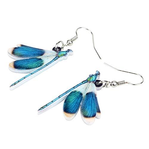 dingtian Arete Azul libélula Insecto Pendientes Big Dangle Gota joyería única para Las Mujeres Regalo Accesorios a Granel