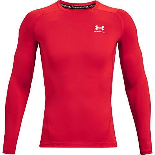 Under Armour Men's Armour HeatGear Compression Long-Sleeve T-Shirt , Red (600)/White, Large