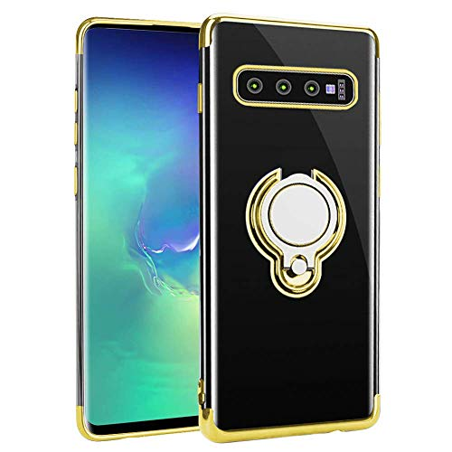 ruiyoupin hoes compatibel met Samsung Galaxy S10 Plus, tasje hoes doorzichtig TPU plating bumper silicone telefoonhoes 360 graden ring standaard transparante beschermhoes Galaxy S10 / S10e