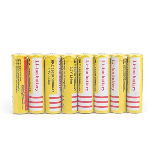 bosbary 8pcs 18650 Battery 3.7V 5000Mah Rechargeable Battery Button/niple top 18650 Rechargeable Li-ion Batteries for LED Flashlight Headlamp Torch Electric Tool