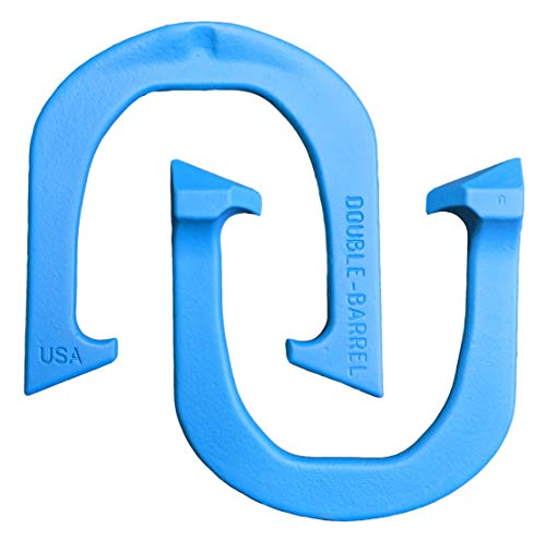 Double-Barrel Professional Pitching Horseshoes- Made in The USA (Blue- Single Pair (2 Shoes))