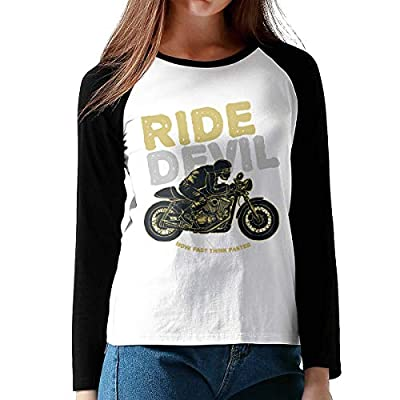 FashionWomen's Print Ride Devil Cotton Graphic Long Sleeve Baseball T-Shirts L Black from Onesunc