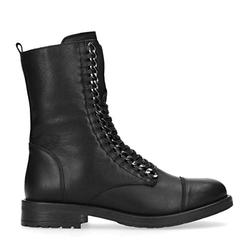 Schwarze Leder-Schnürstiefelzwart Schwarz