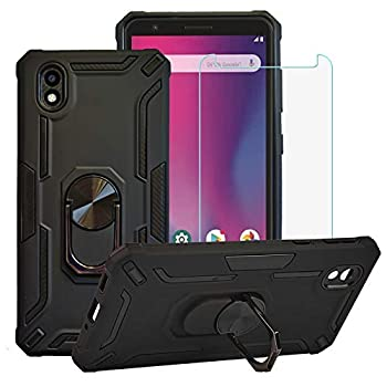 BestAlice for ZTE Avid 579 / ZTE Blade A3 2020 Case with Tempered Glass Screen Protector Hybrid Heavy Duty Protection Shockproof Defender Kickstand Armor Case Cover,Black