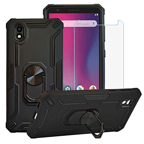 BestAlice for ZTE Avid 579 / ZTE Blade A3 2020 Case with Tempered Glass Screen Protector, Hybrid Heavy Duty Protection Shockproof Defender Kickstand Armor Case Cover,Black