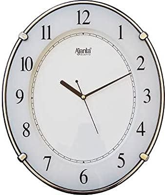 Ajanta Designer Battery Operated Round Plastic Wall Clock with Large Numbers (33.9 x 28.2 x 4.1 cm, Quartz, White)