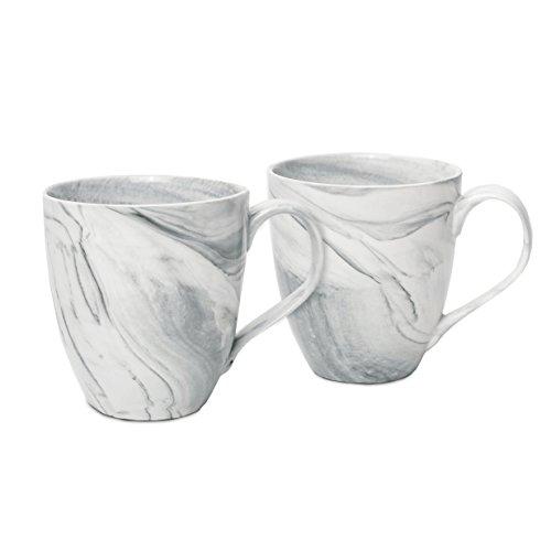 Hausmann & Söhne XXL Tasse weiß groß aus Porzellan in Grauer Marmorierung | Jumbotasse 500 ml (550 ml randvoll) im 2er Set | Kaffeetasse/Teetasse groß | Kaffeebecher Marmor | Geschenkidee