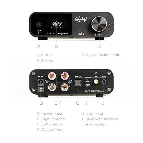 『Sabaj A3 80Wx2 デジタルパワーアンプ Bluetooth 4.2 ハイファイクラス D AMP USB DSP デジタル光入力 最大192 kHz』の4枚目の画像