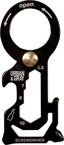 Urban & Gray Edelstahl Schlüsselanhänger Multi Tool mit Kreuz- und Schlitzschraubendreher, Sechskant, Schlüsselring und Flaschenöffner
