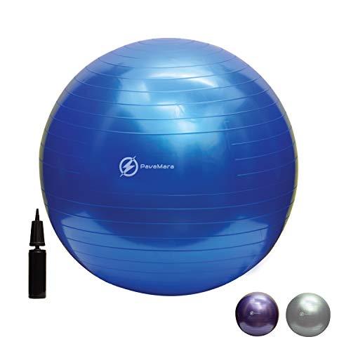 PavaMara Fitball 55/65/75 cm – Pelota Fitness Pilates – Pelota de gimnasia en el gimnasio casa – Fisioterapia espalda (azul, 75 cm)